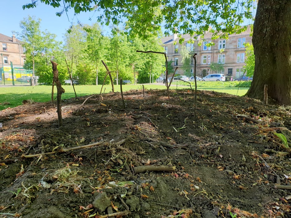 The image shows a series of different sized sticks stuck into a mound of earth. In the background is a playpark in an urban environment.
