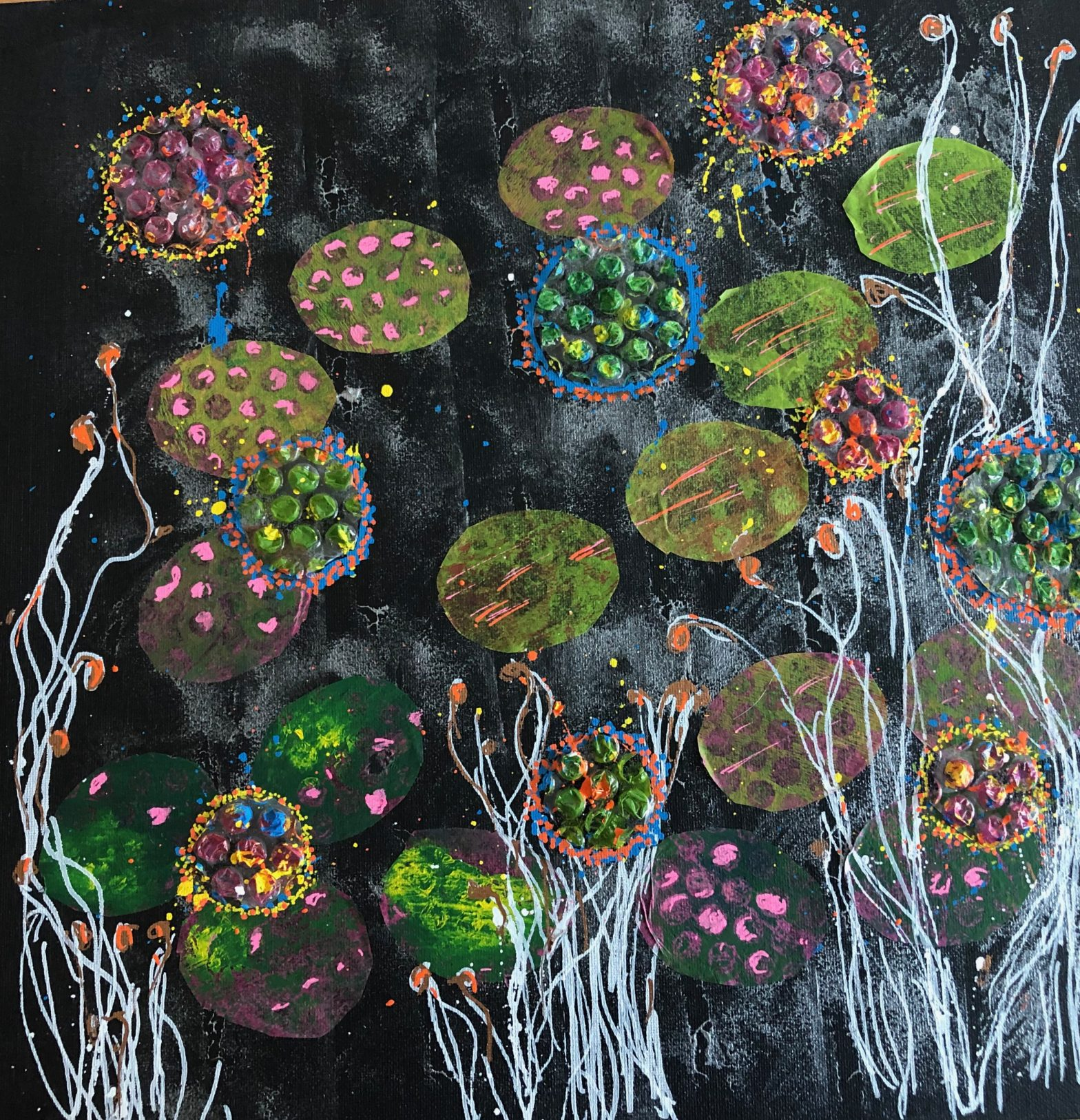 Abstracted collage of water lilies and covid 19 virus