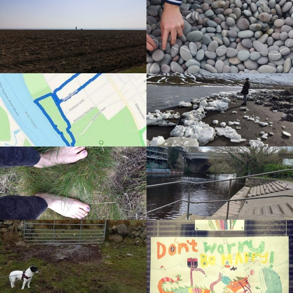 Collation of images from different walks: dog at gate, map, walker and icebergs, hands on pebbles, don't worry picture, steps down to the water of Leith in Edinburgh