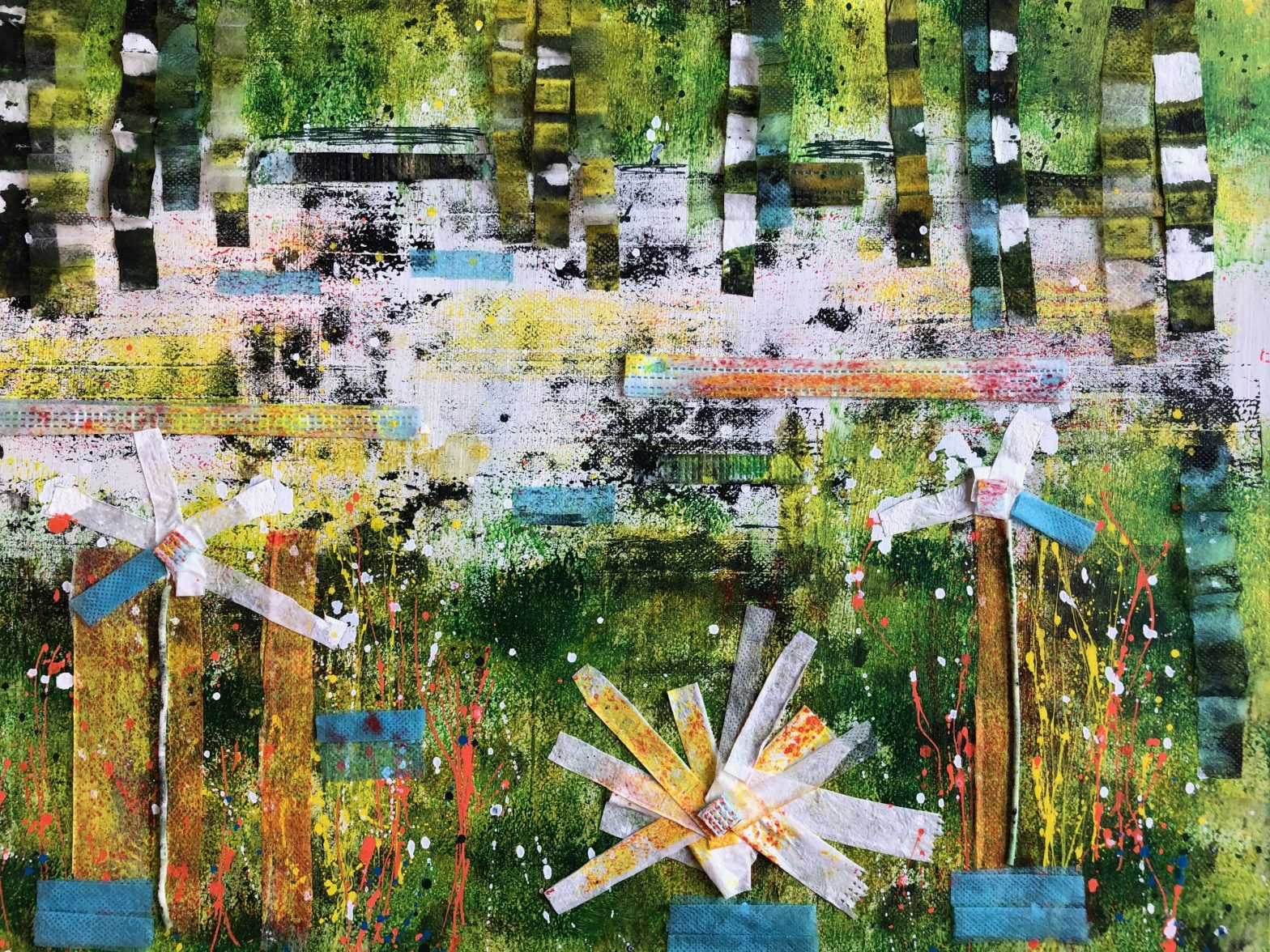 Abstract landscape collage made using disposable face masks