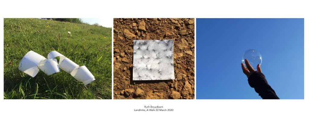 A print of three photographs taken in situ: a line drawing onto tillroll placed on field grass, a pencil rubbing of quarry ground, an arm stretching up to catch sunlight in a glass sphere set against a blue sky.