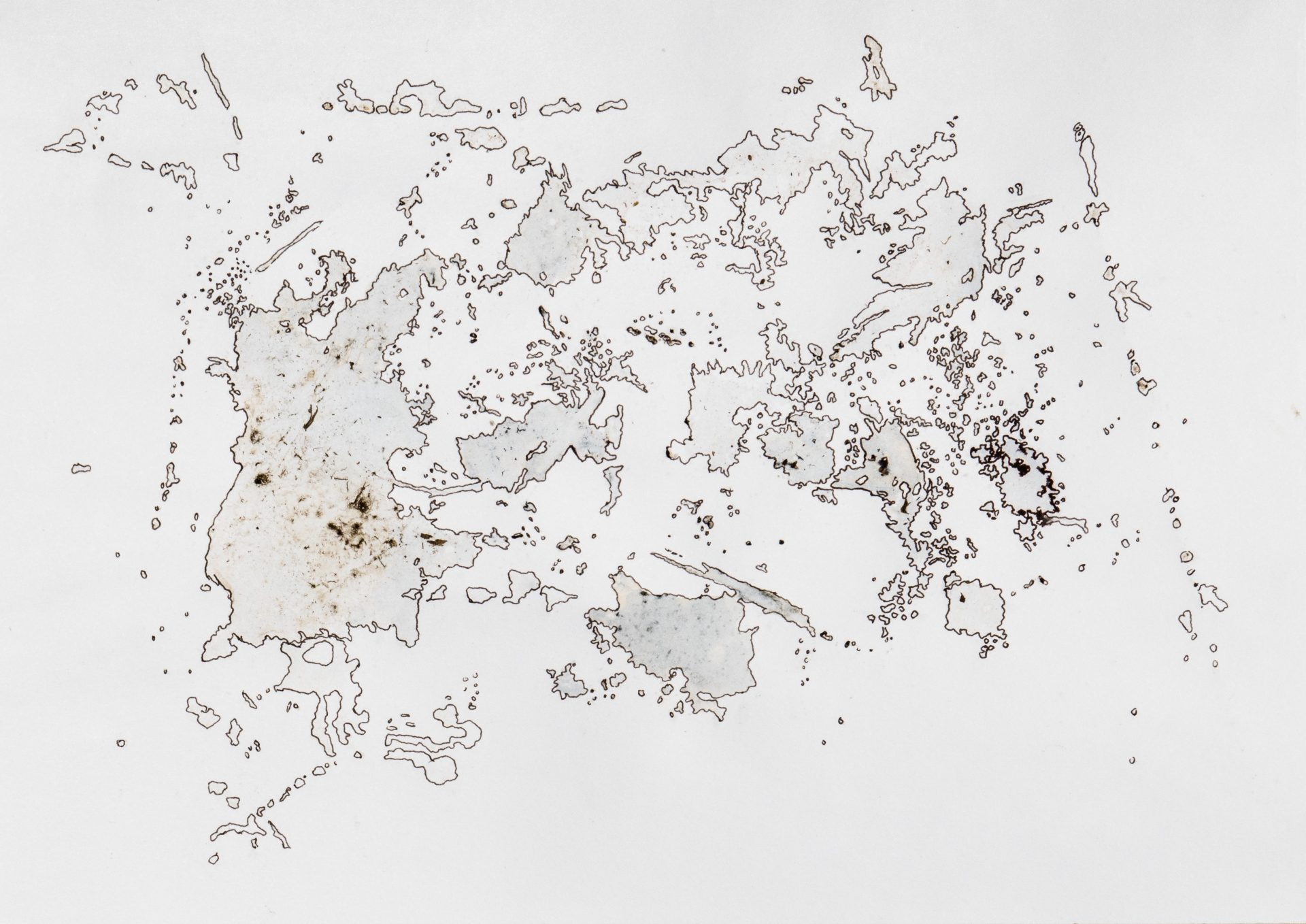 A map-like drawing on paper, with pen and wash and traces of the ground of the puddle.