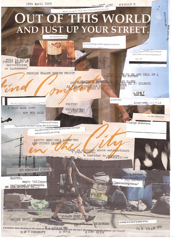 One of the pages from the diary. Showing a mix of collage imagery, such as people walking in the street and building cranes. Also many words added with a typewriter, for example 'peoples health before profit' and 'empty billboards'.