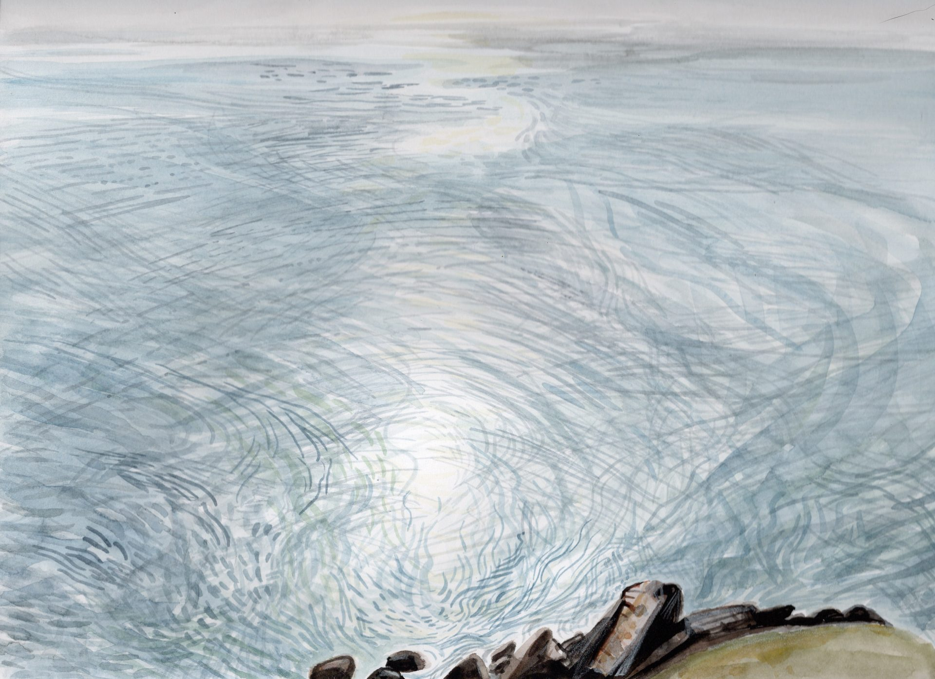 Painting of the sea at Rhiw, from the cliff edge