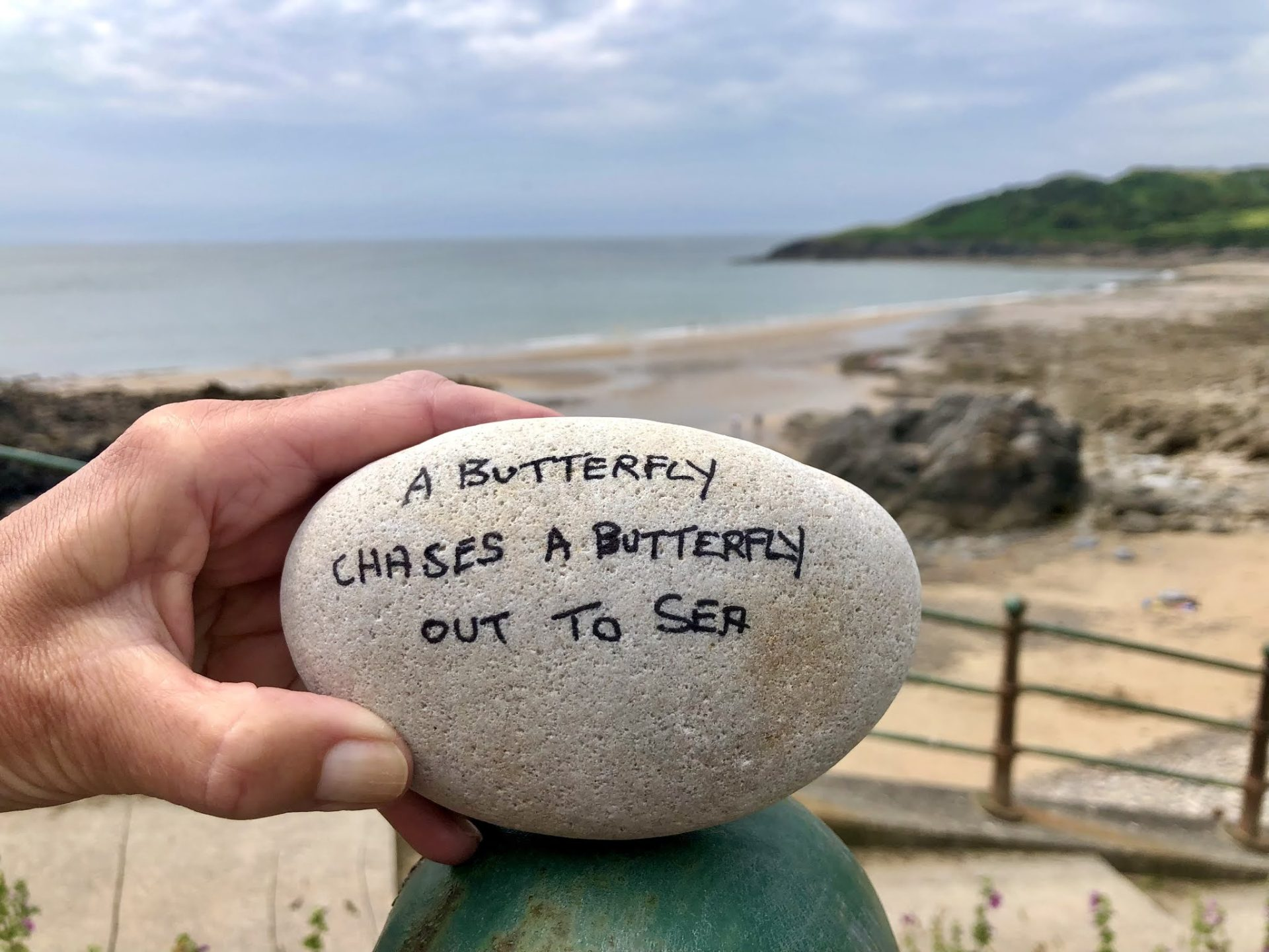 The image depicts a poem written in black pen on a stone pebble. The poem reads 'A butterfly chases a butterfly out to sea'.