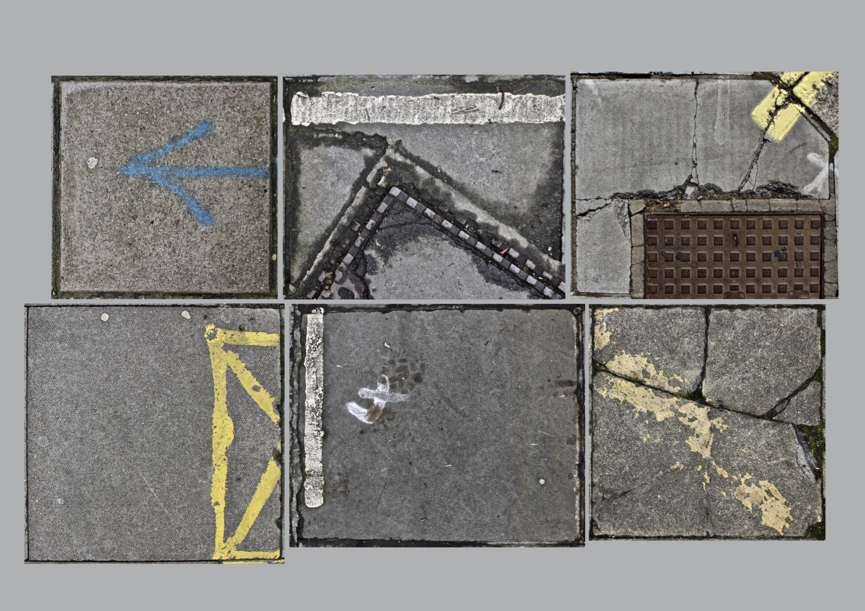Image of six paving slabs of varying dimensions, marked by cracks, lines and patination.