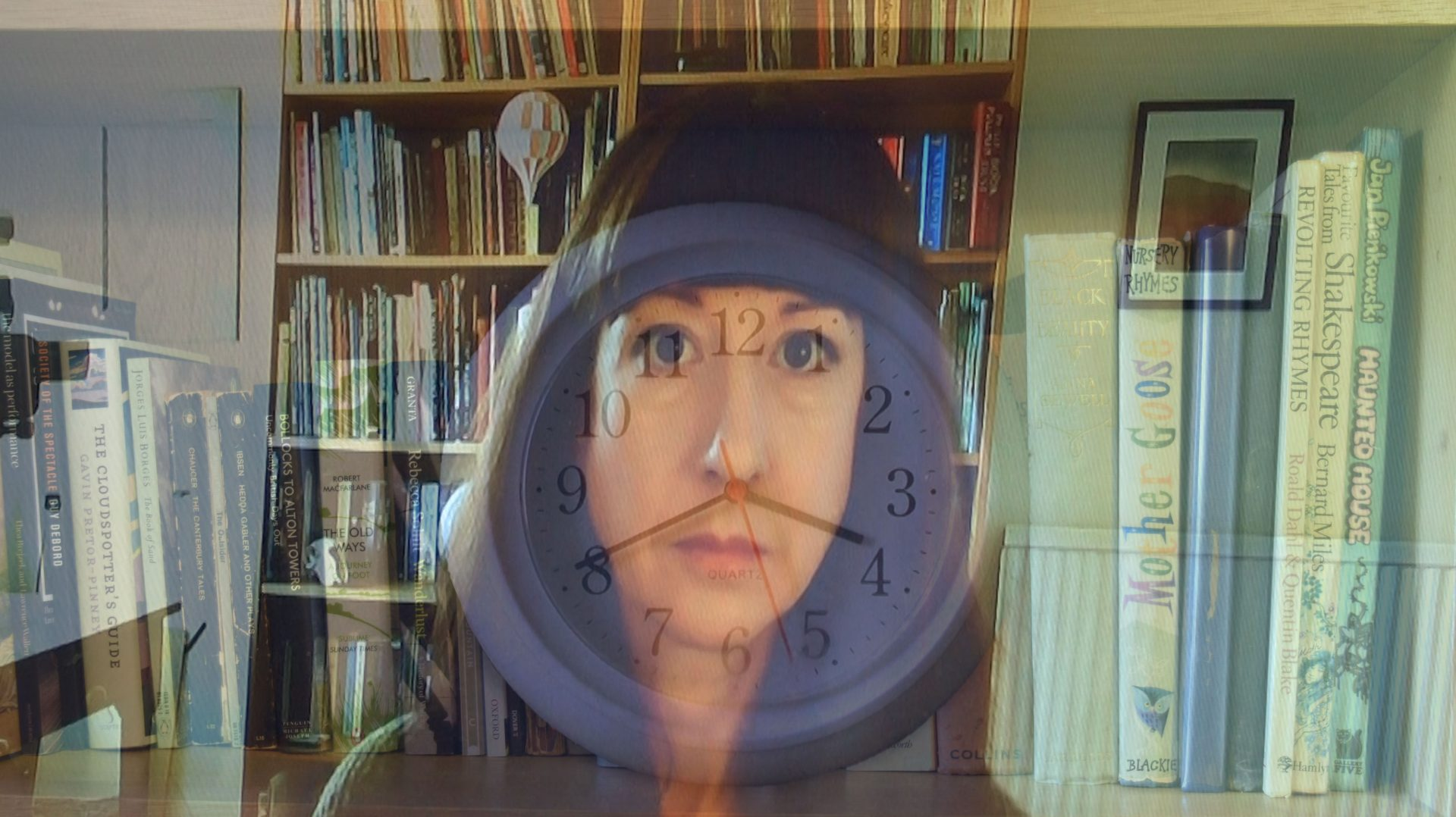 A background of a bookshelf in front of which is a woman's face with a clock face superimposed.