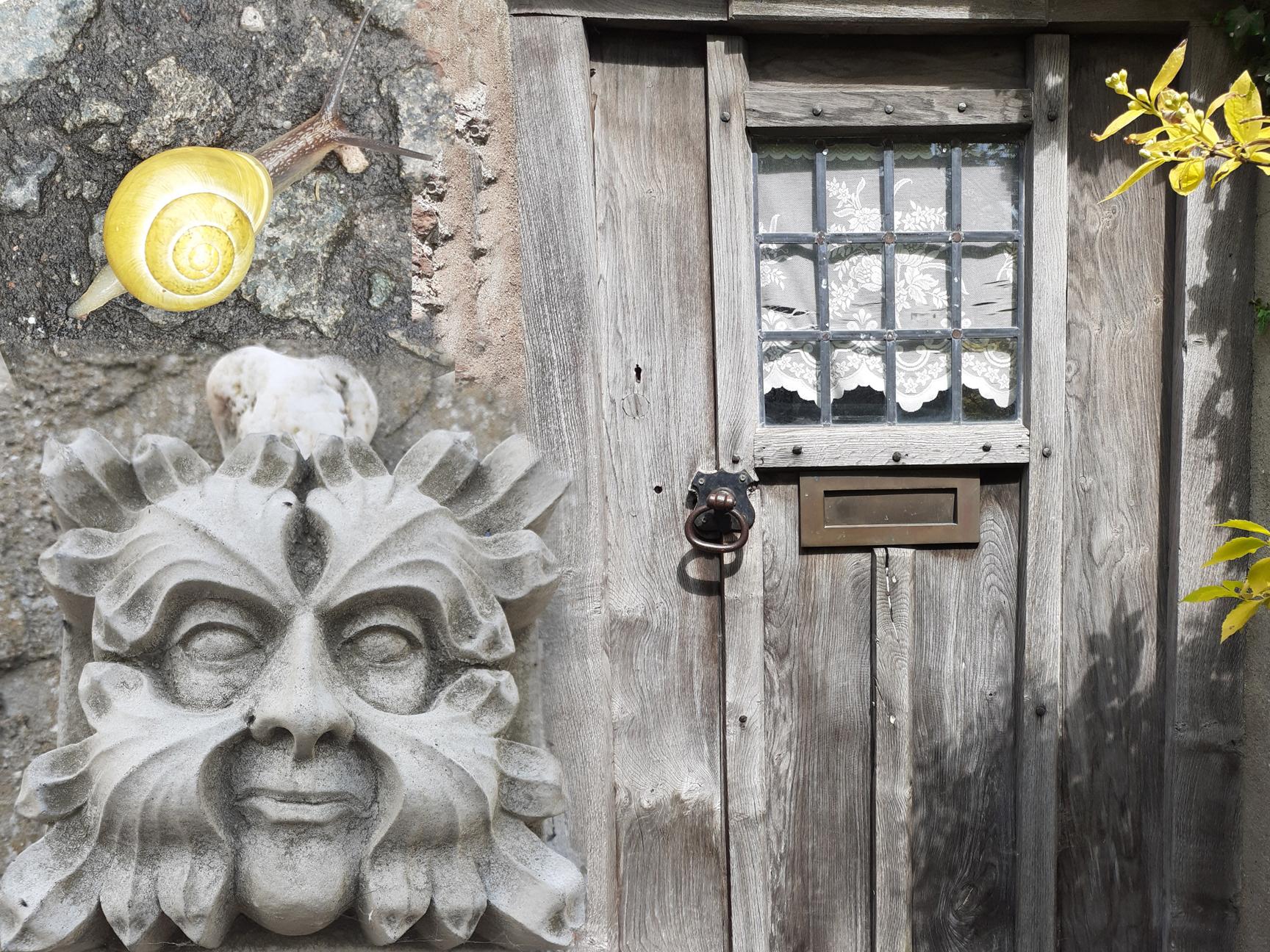Green man face, door, snail
