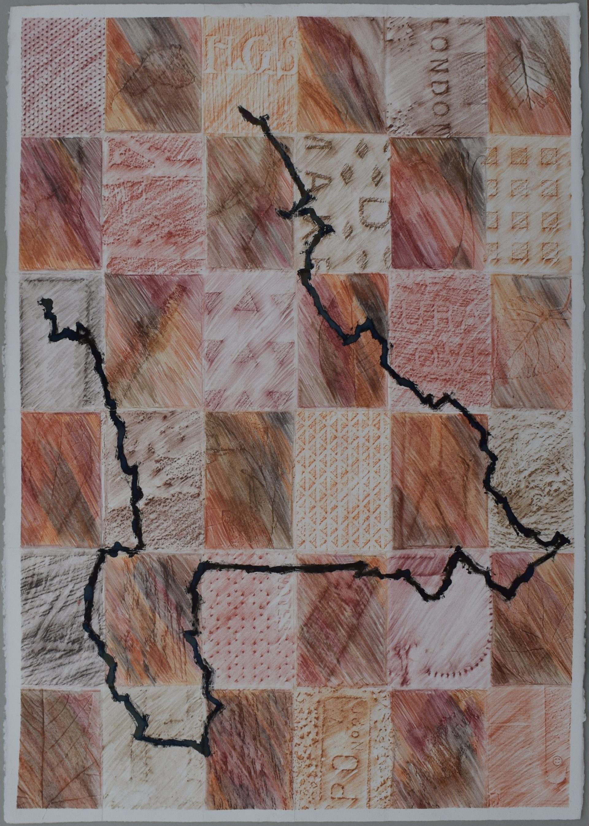 Earth-coloured rubbings on a paper folded into 12 squares. A black line appears over the squares.