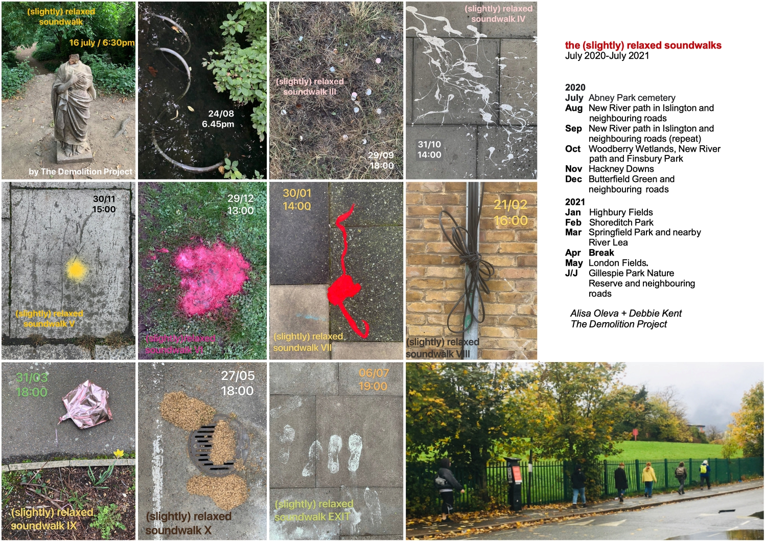 A group of photographs of details of urban streets, used to promote the soundwalks