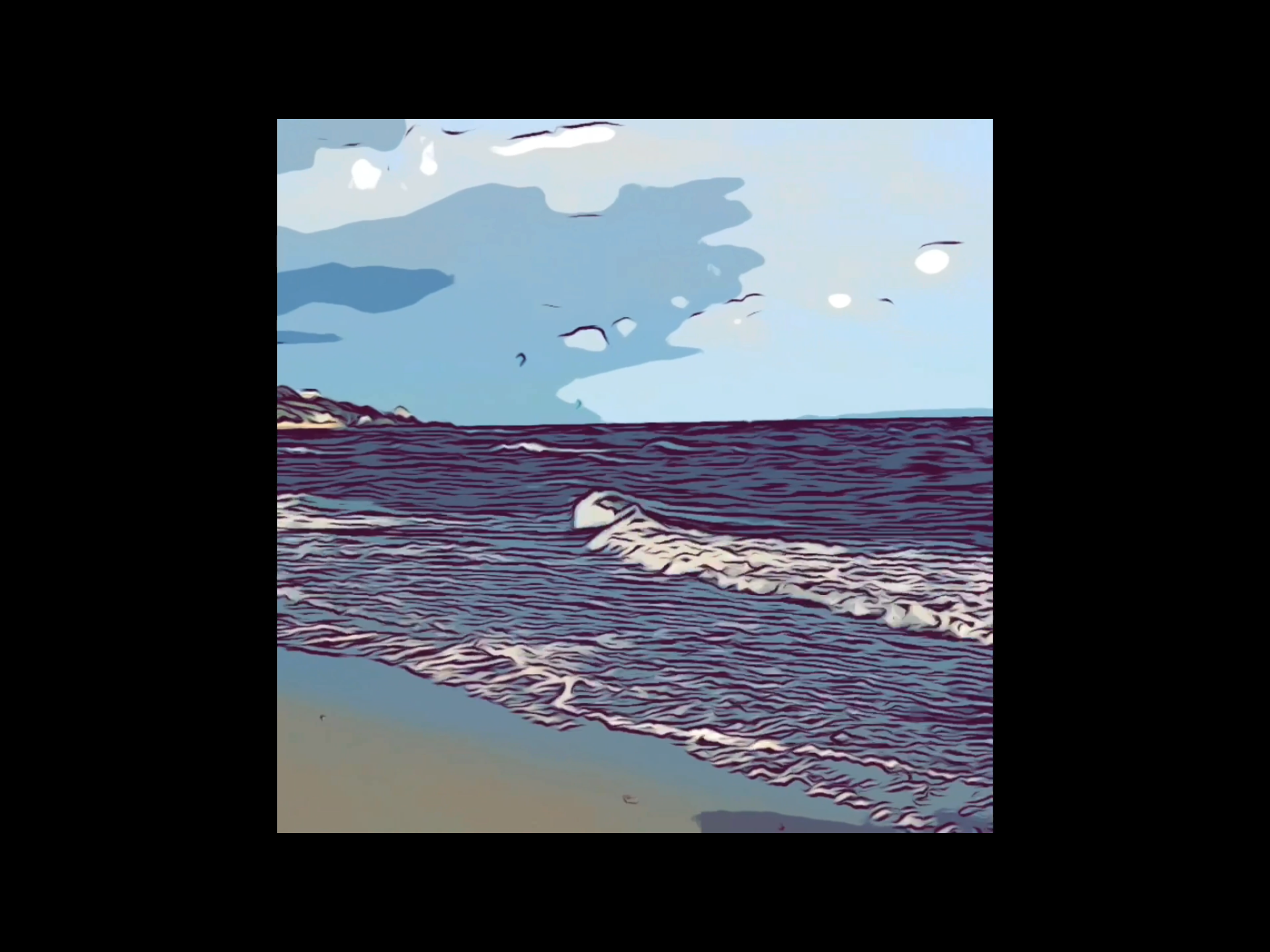 Moving image of a windy beach walk with a short dance interpretation. Inspired by the birds and kite surfers.